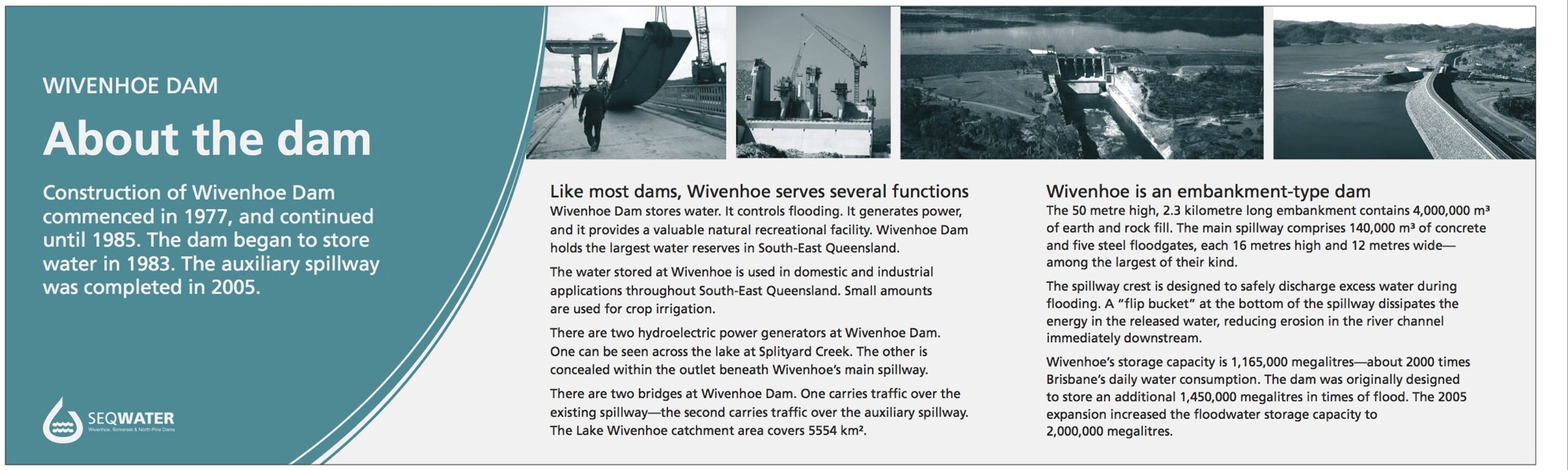 Wivenhoe Dam interpretive signage - About the dam