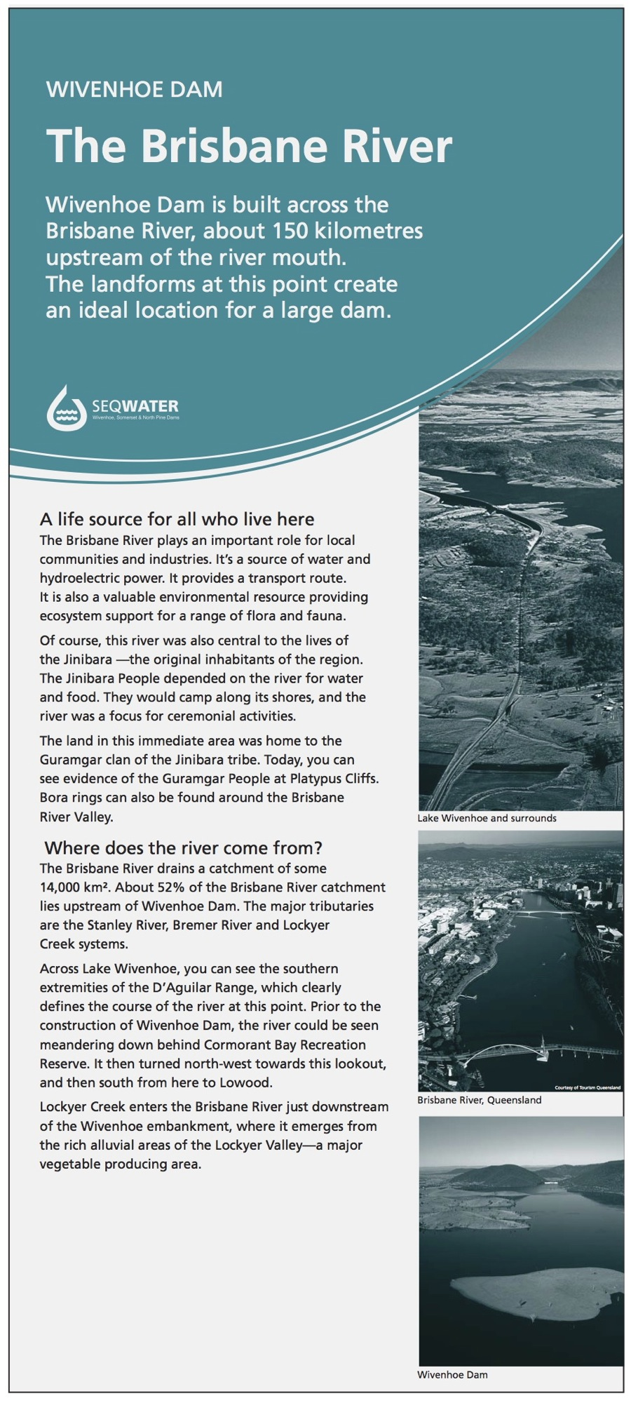 Wivenhoe Dam interpretive signage - Brisbane River