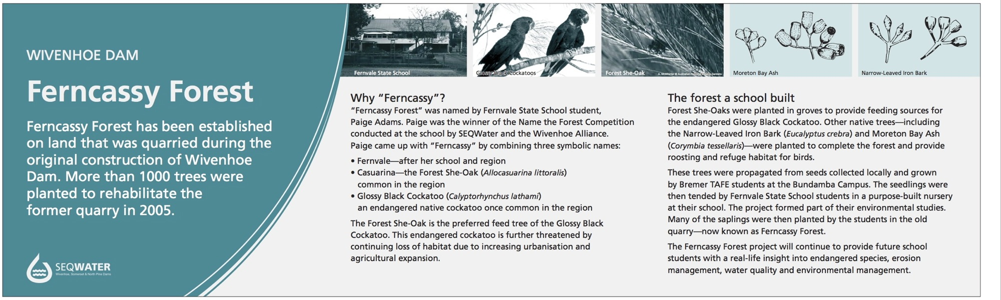 Wivenhoe Dam interpretive signage - Ferncassy Forest