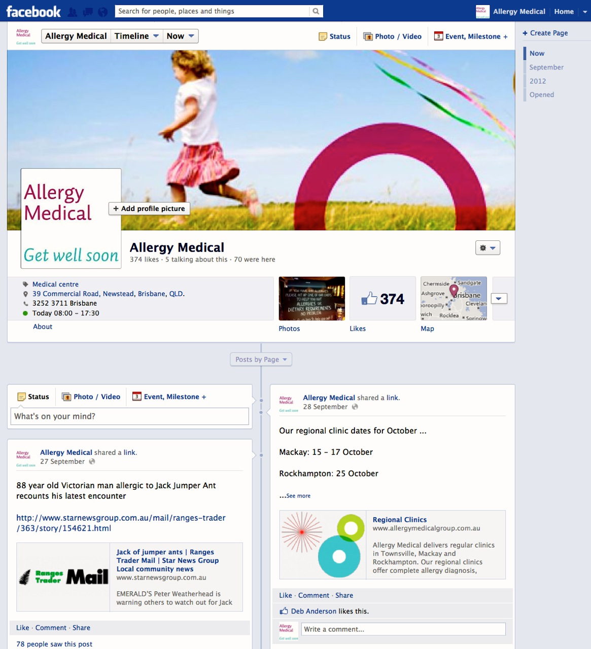 Allergy Medical Facebook page
